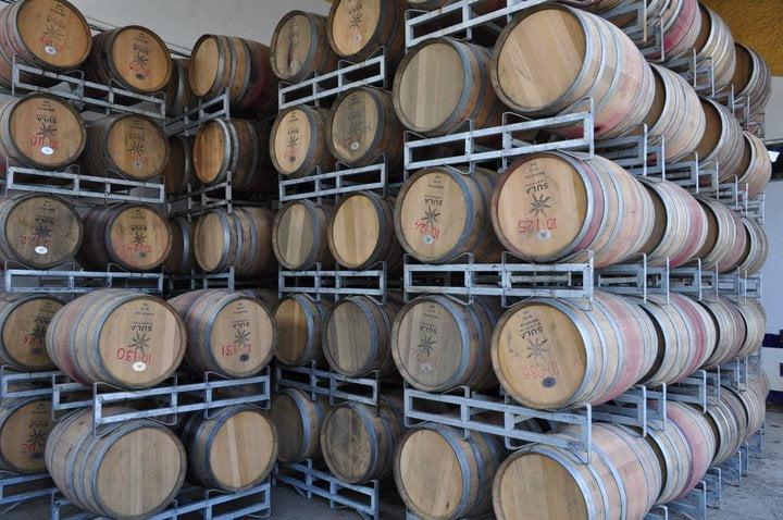 Oak barrels at Sula Vineyards