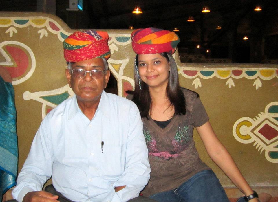 With Rajasthani head gears at Choki Dhani restaurant
